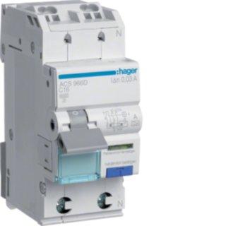 Hager ACS966D FI-LS 1P+N 6kA C-16A 10mA Typ A QC