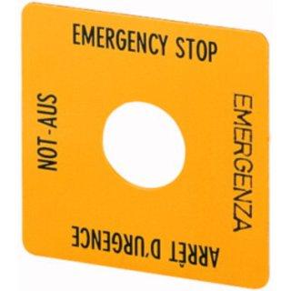 Eaton Electric SQT1 NOT-AUS-Schild, gelb, Schrift...