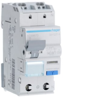 Hager ACS967D FI-LS 1P+N 127V 6kA C-16A 10mA Typ A QC
